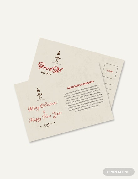 Free Restaurant Christmas Postcard Template