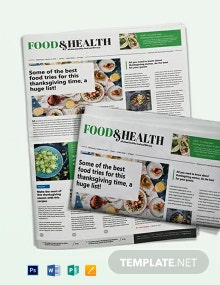 Food and Health Newspaper Template