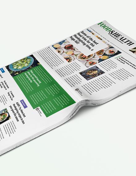 Sample Food and Health Newspaper