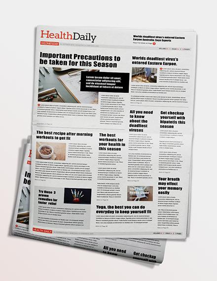 Health Newspaper Template