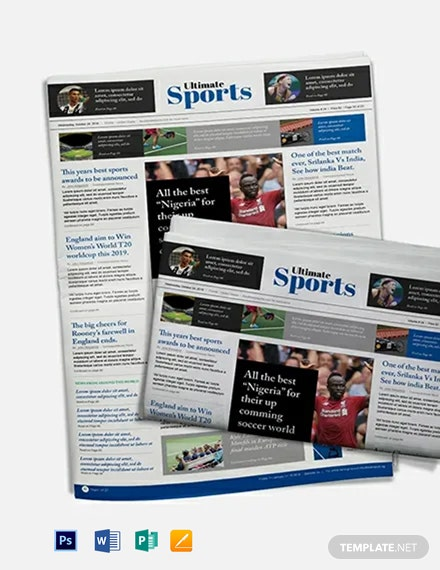 Free Sports Newspaper Template