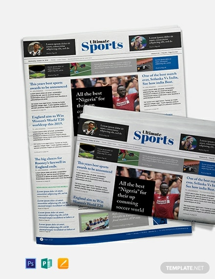 Free Sports Newspaper Template