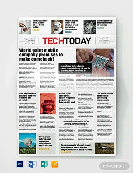 Technology Newspaper Template