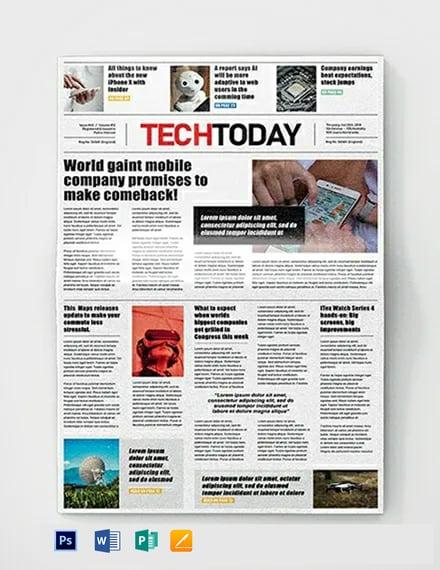 Technology Newspaper Template