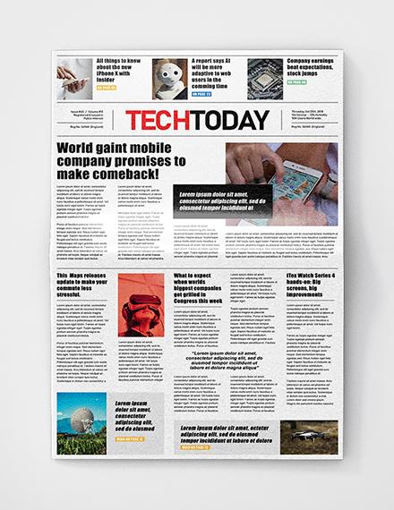 Technology Newspaper Template In Adobe Photoshop Microsoft