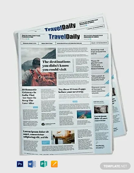 Travel Newspaper Template