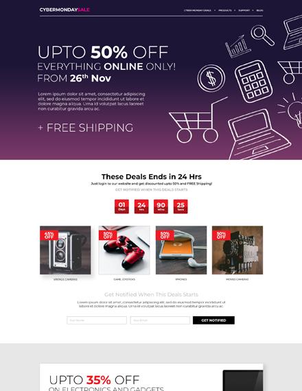 Free Cyber Monday HTML5/CSS3 Landing Page