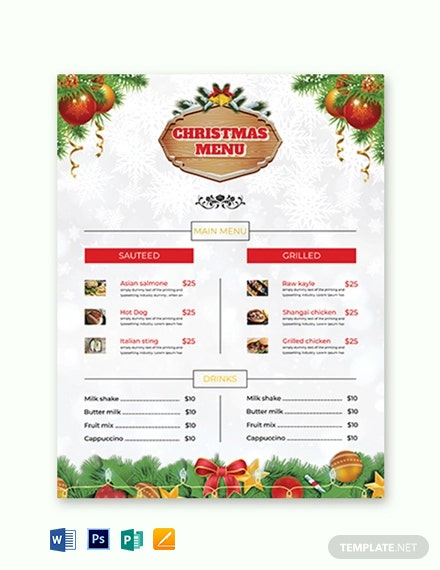 Christmas Brochure Menu Card Template