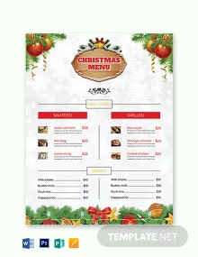 Free Christmas Brochure Menu Card Template