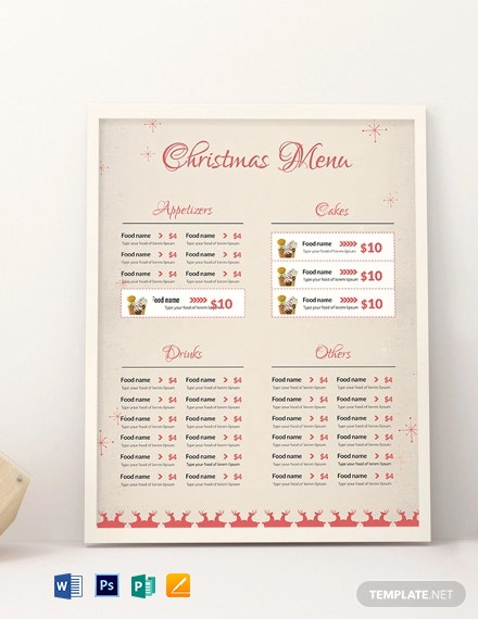 Christmas Menu Card Template