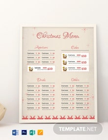 Free Christmas Menu Card Template