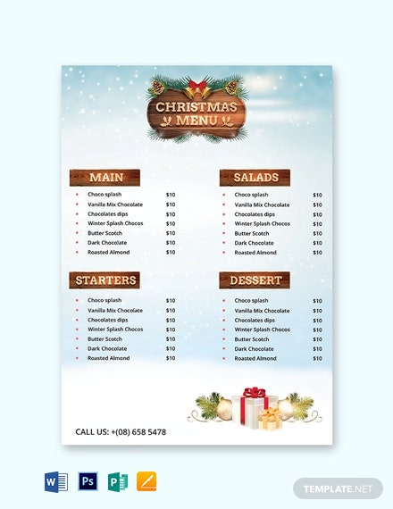 Christmas Party Menu Card Template