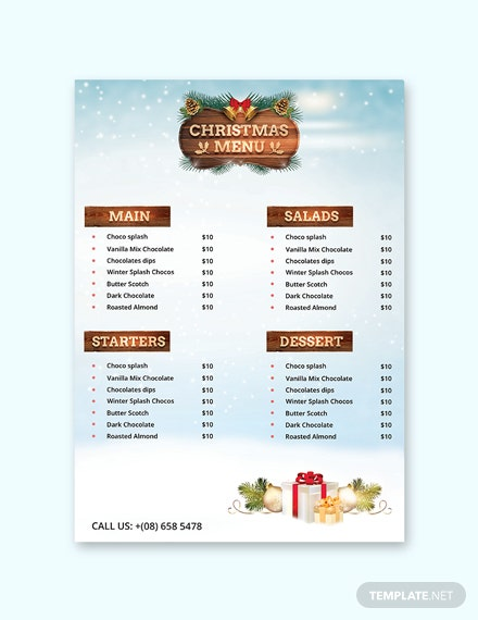 Free Christmas Party Menu Card Template