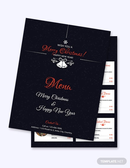 Free Simple Christmas Menu Card Template
