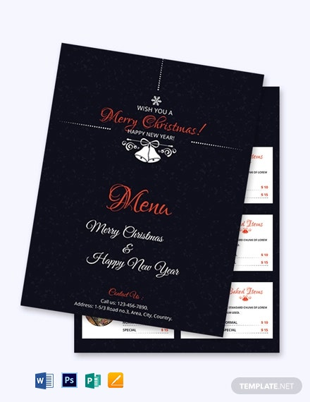 Simple Christmas Menu Card Template