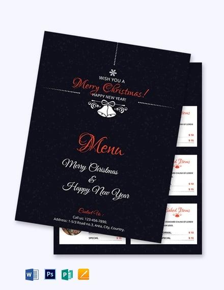 Free Simple Christmas Menu Card Template