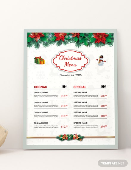Free Christmas Brochure Menu Template