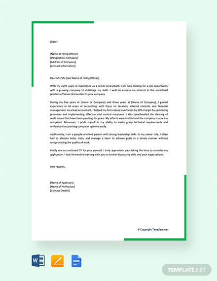 free job application letter for accountant post template