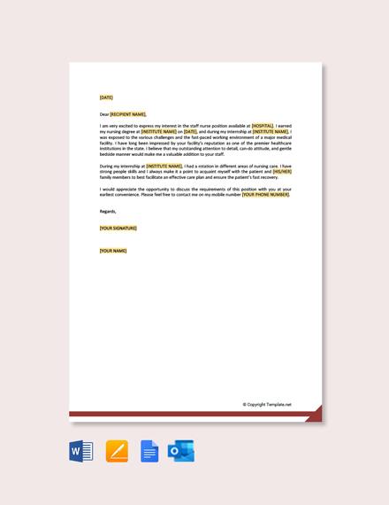 Free Job Application Letter for Staff Nurse