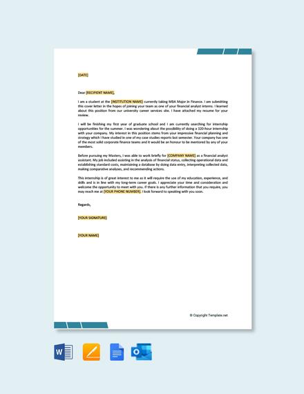 Free Job Application Letter for Summer Internship
