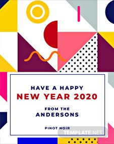 Free New Year Wine Label Template
