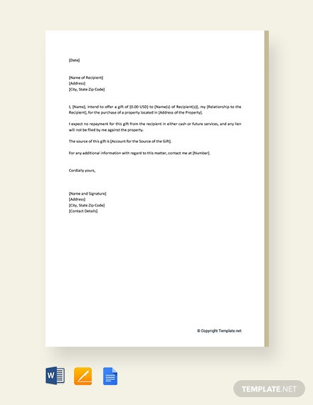 Free Gift Letter Template
