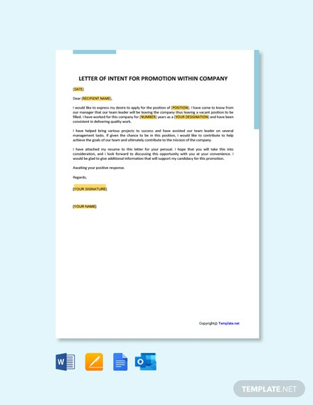 Free Letter of Intent for Promotion within Company