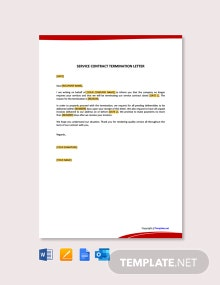 Free Service Contract Termination Letter