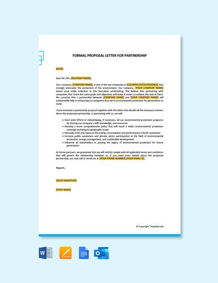 Free Formal Proposal Letter for Partnership