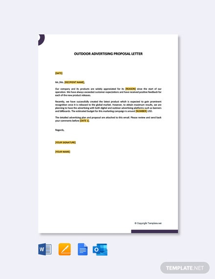 Free Outdoor Advertising Proposal Letter