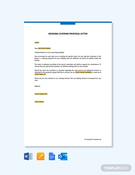 Wedding Catering Proposal Letter Template