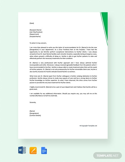 free letter of recommendation for physician colleague template
