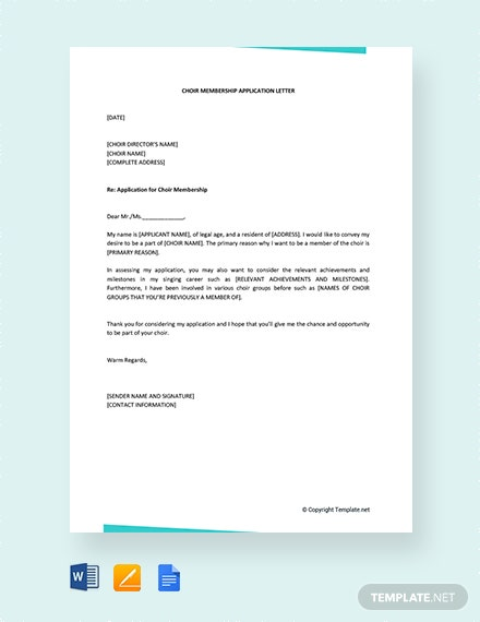 FREE Choir Membership Application Letter Template - Word ...
