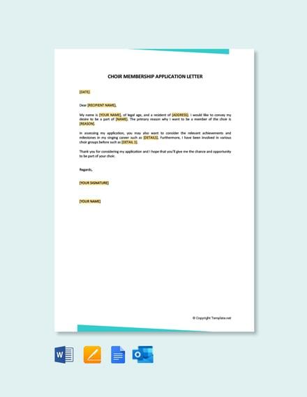 Choir Membership Application Letter