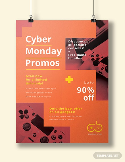 free cyber monday promotional poster template net