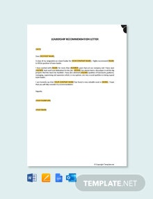 Free Leadership Recommendation Letter