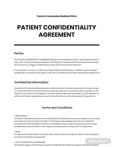 Patient Confidentiality Agreement