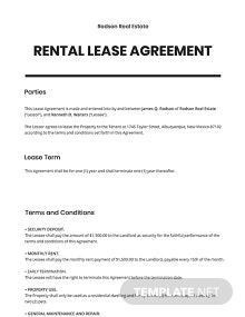Rental Lease Agreement Template