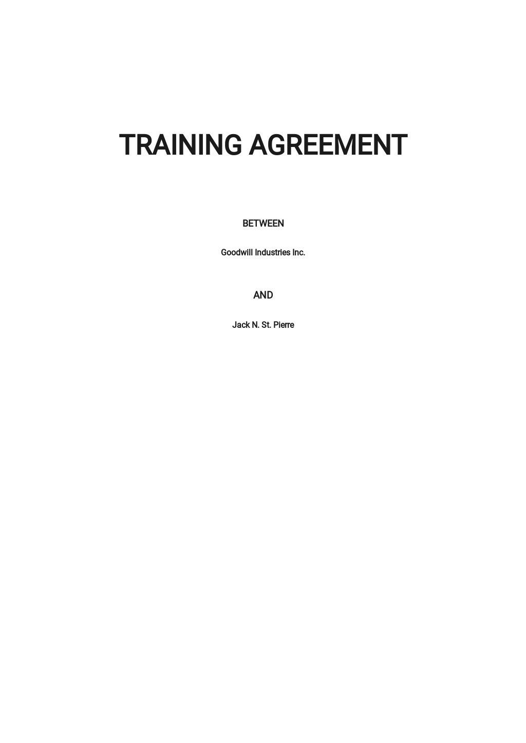 Training Agreement Template