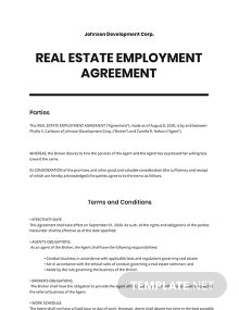 Real Estate Employment Agreement Template