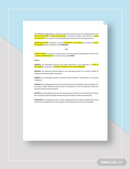 Forbearance Agreement Template Word Google Docs Apple