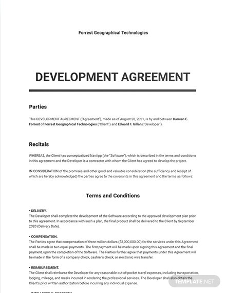 Software Development Agreement Sample