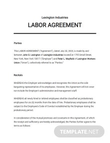 Labor Agreement Template