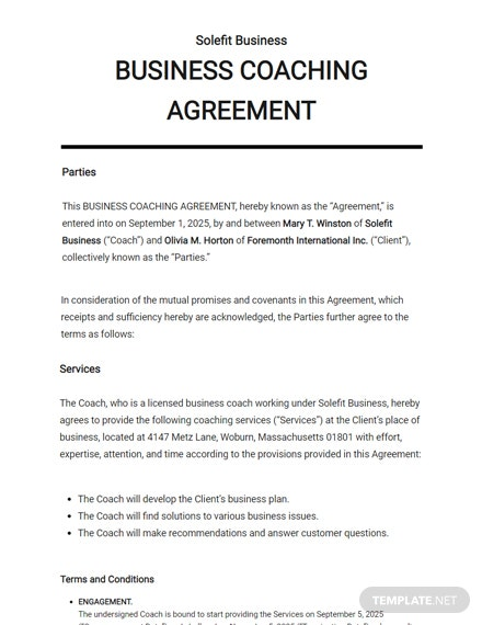 Business Coaching Agreement