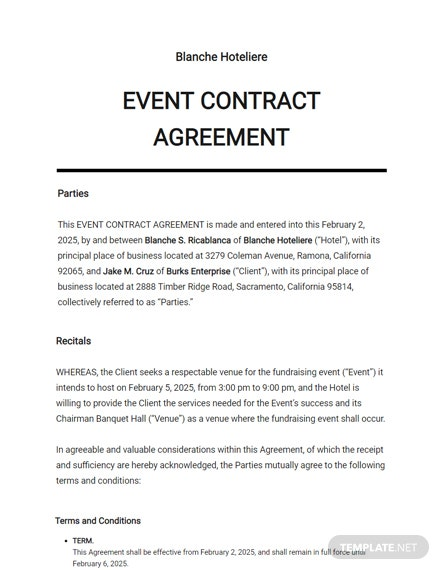 Event Contract Agreement Template