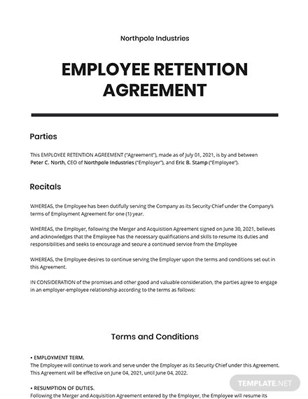 Employee Retention Agreement Template