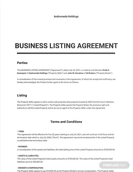 Business Listing Agreement Template