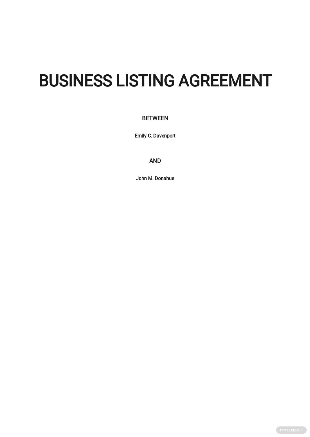 Business Listing Agreement Template .jpe