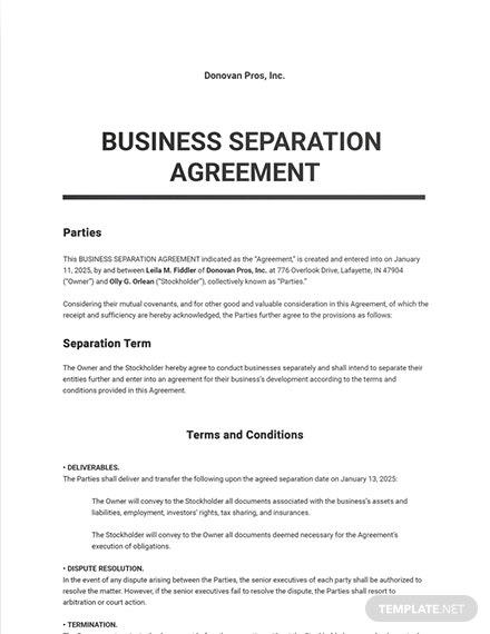 Business Separation Agreement Sample