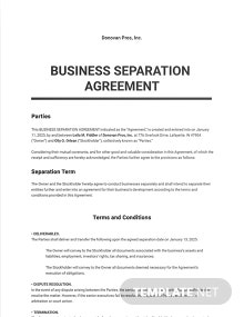 Business Separation Agreement Template